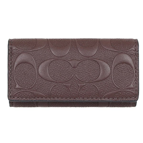 COACH 鑰匙圈 鑰匙包 男士精品 三摺四孔可放卡片 咖啡色皮革LOGO 全省專櫃可送修 全新現貨 特價2990