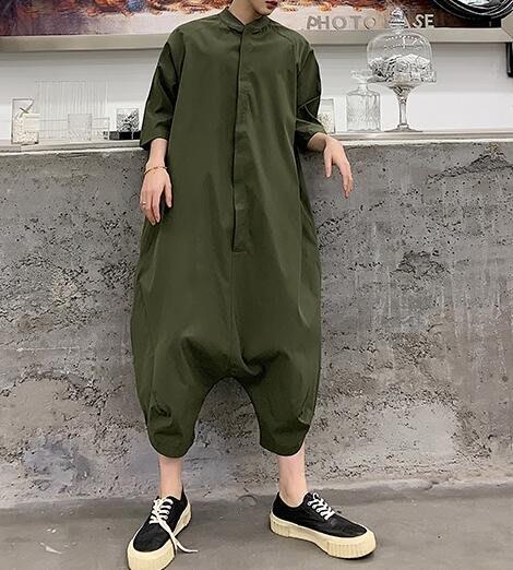 FINDSENSE品牌 韓國 2019 夏季 新款 復古 高腰 嘻哈 連體褲 工裝 寬鬆 潮流 連體套裝 時尚