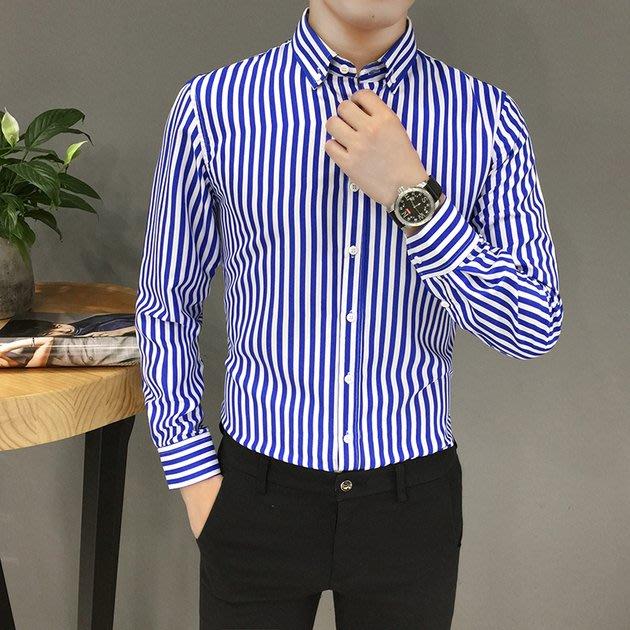 FINDSENSE 2019 秋季上新 G7 長袖條紋襯衫男青年免燙休閒長袖條紋襯衣 男裝