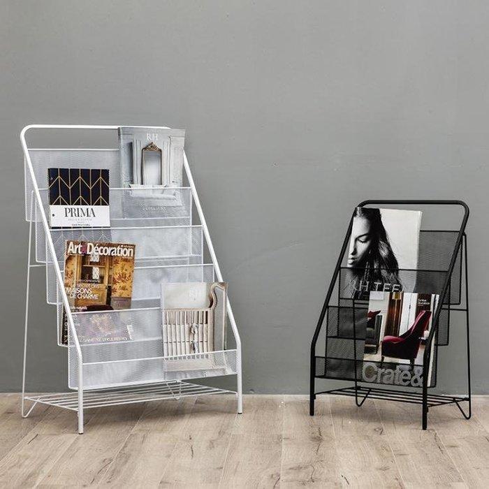 北歐簡約現代鐵藝雜志架置物架簡易落地兒童繪本小書架小學生書柜WY