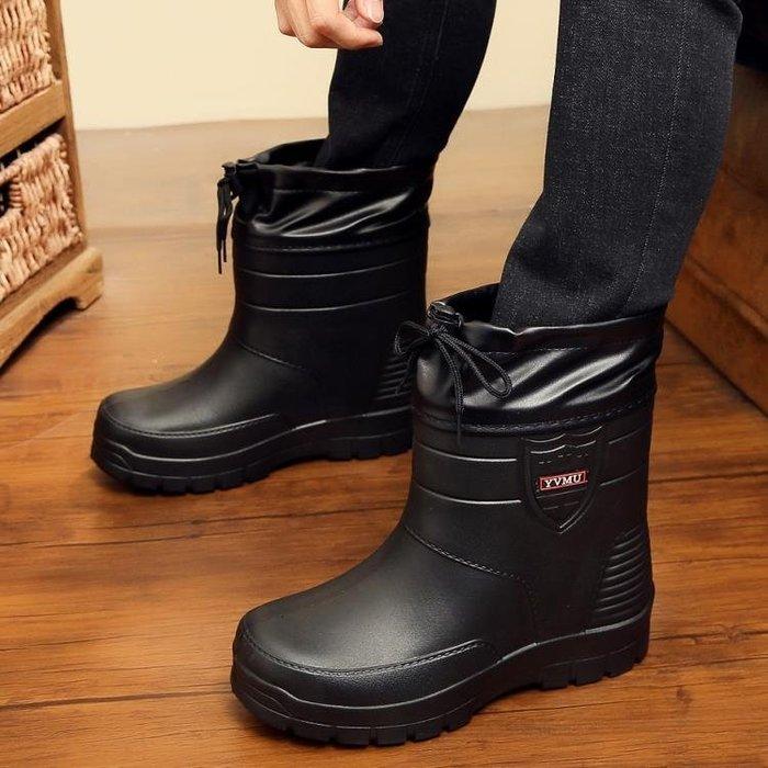 店長推薦 雨鞋男冬季加絨棉防水防滑大碼保暖廚房水鞋中筒加棉雨靴膠鞋套鞋
