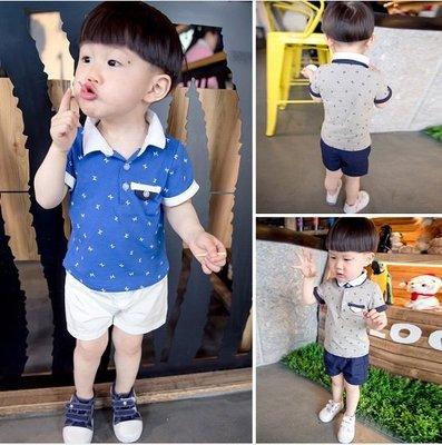 ♥ 【BS0073】XT-6522 韓版男童裝M字母POLO衫套裝 2色 (藍色 現貨) ♥