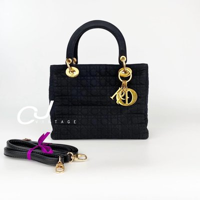 ✨CJ Vintage✨日本二手正品Dior 黛妃包ladydior黑金手提斜背包