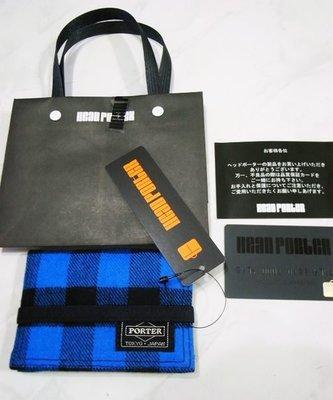 全新日本買正品藤原浩HEAD PORTER 藍格紋CARDCASE卡夾、車票夾 附紙袋