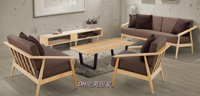【DH】商品貨號n690-B稱《納維》原木布面1.2.3木製沙發組(不含長方椅)  布套可拆洗