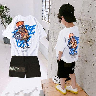 hello小店-童裝男童套裝夏裝2019新款短袖嘻哈兒童中大童兩件套帥洋氣韓版潮#兒童上衣#襯衫#短袖t恤#