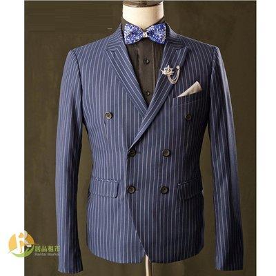 【居品租市】 專業出租平台 【出租】Pierre Regent 韓版藍底寬直紋雙排扣西服