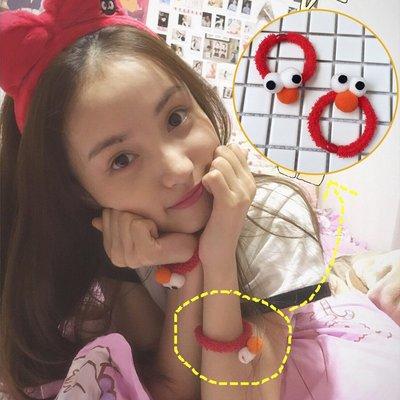 日系軟妹林小宅同款眼睛髪圈卡通可愛芝麻街髪繩髪飾頭繩頭飾韓版