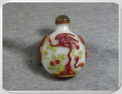 ○古奇納○晚清--- 白玉琉璃雕鼻煙壺