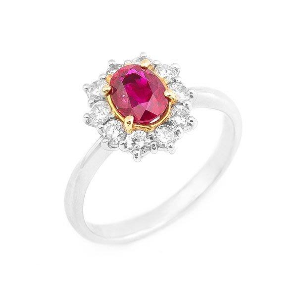 【JHT 金宏總珠寶/GIA鑽石專賣】1.07ct天然紅寶鑽石戒指/材質:PT/18K(JB20-A03)