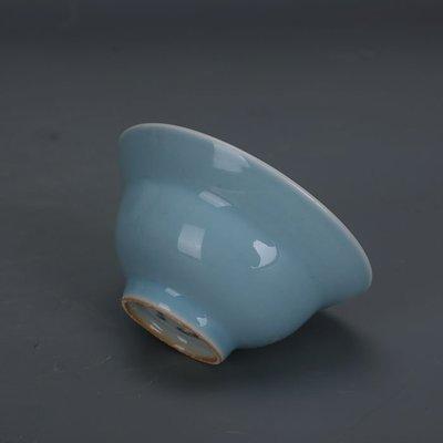 ㊣姥姥的寶藏㊣ 天青釉單色釉折腰杯功夫茶杯上海博物館款古瓷器文革廠貨古玩收藏