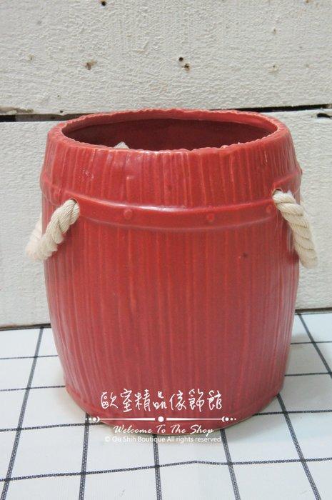 ~*歐室精品傢飾館*~Zakka 鄉村雜貨 陶瓷 提籃 線條 花器 花瓶 乾燥花 擺飾 多肉植物 批發 園藝~新款上市~