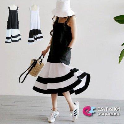 現貨 魚尾洋裝 隨性風格黑白拼吊帶連身裙 艾爾莎【TGK5310】