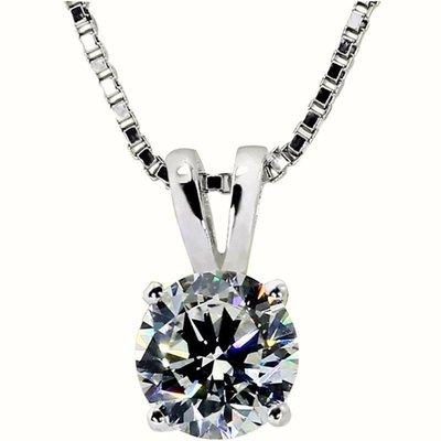 四爪镶 1.5克拉FB莫桑石鑽石項鏈女...