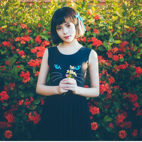 5Cgo【鴿樓】會員有優惠 526071747580 原創 元氣少女日系鋼托黑色性感鋼托可愛顯瘦裙式連體泳衣
