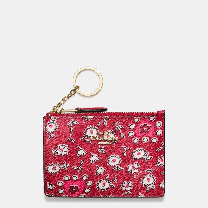 Coco小鋪 COACH 57852 MINI SKINNY ID CASE 紅色花卉印花帆布證件套