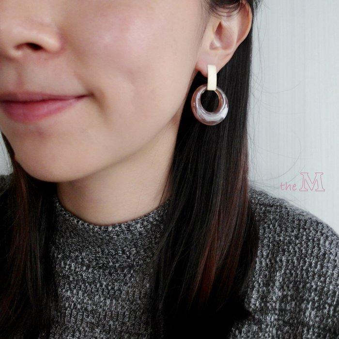 The M 正韓 髮絲紋 霧金 暈染 圈圈耳環-兩色-抗過敏 鋼針