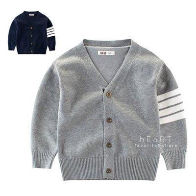 【可愛村】單側條紋針織開襟外套 童裝 針織外套 長袖外套