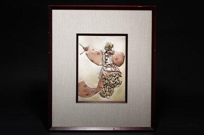 1/20結標 重量級 市價十數萬日圓 帖佐美行 彫金銅板 蘭陵王 B01082─框畫家飾 銅畫 書房 畫廊 國畫 浮世繪
