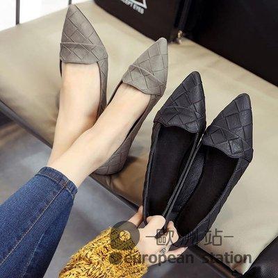 豆豆鞋/韓版春秋季新款尖頭平底工作淺口簡約百搭單鞋純色黑色女