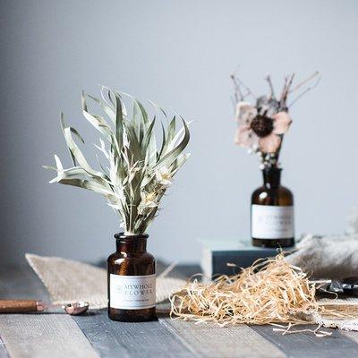 高仿花北歐ins文藝干花小棕瓶套裝花藝花束餐桌面擺件裝飾婚慶節日禮物