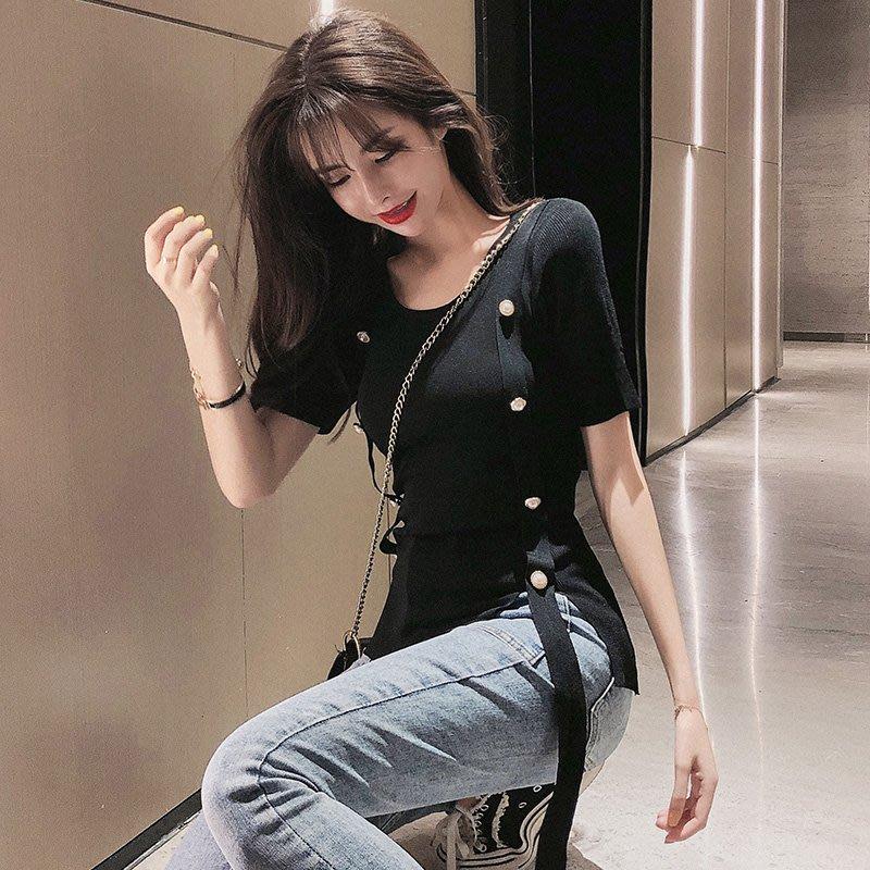 短袖針織衫 冰絲 韓版女裝女性感針織緊身顯瘦內搭上衣服網紅短袖t恤