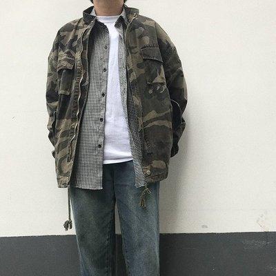 外套春秋季款美式復古立領寬松工裝迷彩夾克風衣bf原宿韓版男女潮外套夾克