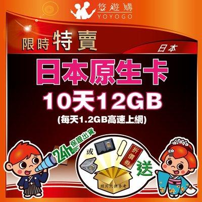 悠遊購 日本 10天12GB 每天1.2GB 高速上網 降速 吃到飽 無限流量 上網卡 日本網卡 【Y0307】