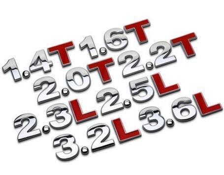 ⑦色花**汽車t貼字1.4T1.8T3.0T2.4L3.0L汽車排量金屬貼2.0車貼尾標字母標