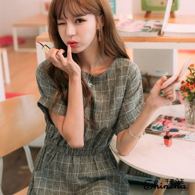 格子連身裙  大尺碼短袖洋裝*Shinena 千奈公主【6219】(原版實拍高質感)