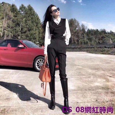 DS_08網紅時尚2019初春季復古時髦職業休閒OL小西裝馬甲襯衫長褲三件套裝時尚女