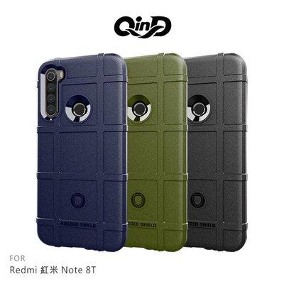 【愛瘋潮】QinD Redmi 紅米 Note 8T 戰術護盾保護套 背蓋式 手機殼 鏡頭加高