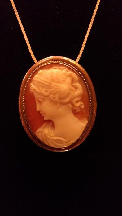 【家與收藏】特價稀有珍藏歐洲古董法國精緻優雅cameo仕女肖像手工貝雕珠寶純銀項鍊