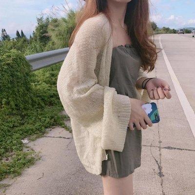 罩衫 防曬衣 薄款空調開衫鏤空針織衫夏季女韓版寬鬆學生慵懶風短款外套