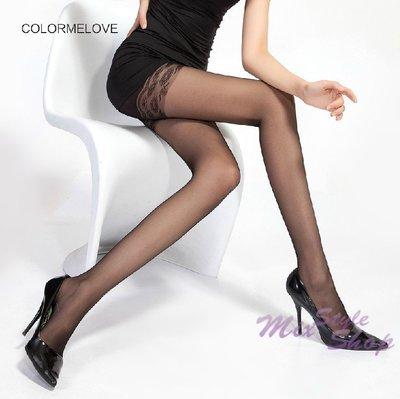 MIX style SHOP【S-142】魅力女神❤8D薄透安全褲型蕾絲花邊假長統褲襪/淨透無瑕絲襪~(2色)