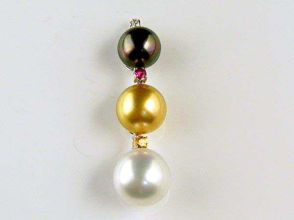 時尚精品 天然大溪地南洋珍珠(真珠) 三色珠墜 紅寶石+黃寶石 送女生禮物【大千珠寶】台北五十年寶石專賣店