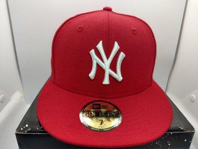 ☆黑人王☆ SHOP NEW ERA MLB 專賣店 洋基隊 NY 紅底白字 東岸 基本款 5950 全封棒球帽