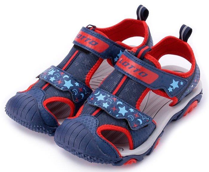 【菲瑪】LOTTO樂得 護趾運動涼鞋 黏帶 閃光星星 童段 藍紅LT8AKS6216
