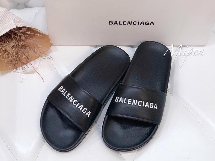 ☆名品寶庫☆Balenciaga piscine 黑色 白Logo 勃肯 拖鞋 / 懶人拖鞋 *現貨*#