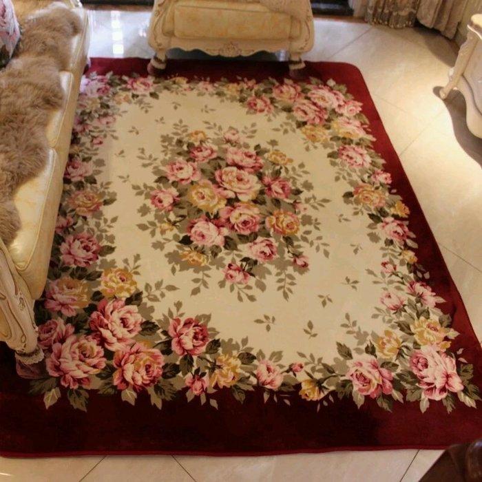 粉紅玫瑰精品屋~經典歐式客廳地毯玫瑰珊瑚絨臥室地毯~現貨+預購