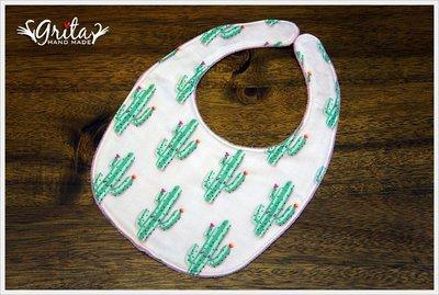 ♥grita's handmade♥純棉手作嬰幼兒圍兜兜/領巾/口水巾/三角巾/彌月禮—粉色仙人掌二重紗