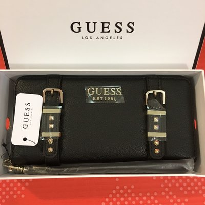 😍Guess😍Women's Eileen Large Zip Around Wallet 拉鏈長銀包 鍋釘搭帶黑色