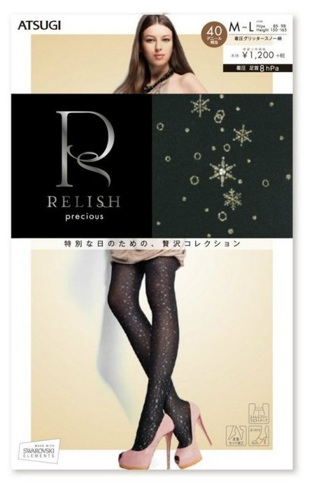 【拓拔月坊】厚木 Relish 極致典藏 40丹 彩蔥 水玉雪花 褲襪 日本製~現貨!