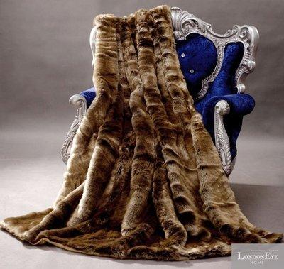 【 LondonEYE 】NeoClassic新古典X奢華織品人造皮草X床尾裝飾蓋毯 大器咖啡金絨 樣品屋/豪宅BL04