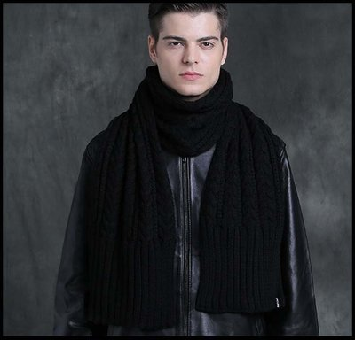 【型男衣櫥】新品圍巾男冬季針織純色保暖圍巾學生加長潮流休閒韓版圍脖