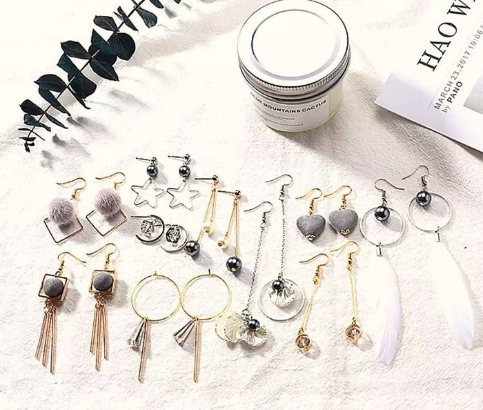 diy耳環材料包 緞帶 流蘇 自製耳釘耳飾品耳墜配件 簡約灰色款 送小工具及包裝袋  兩套材料包贈分類盒 07