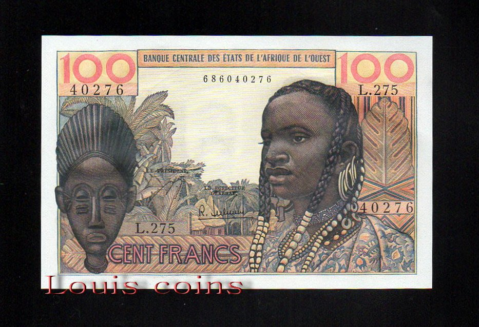 【Louis Coins】B096-WEST AFRICAN STATES-1961-65西非鈔票.100Francs