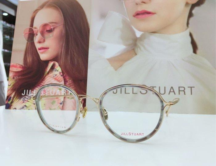 Jill Stuart 水晶綠松石漸變色鈦金屬鏡框 外框包裹炫麗膠板材內框 金色鏡腳側鑲水晶 JS80005