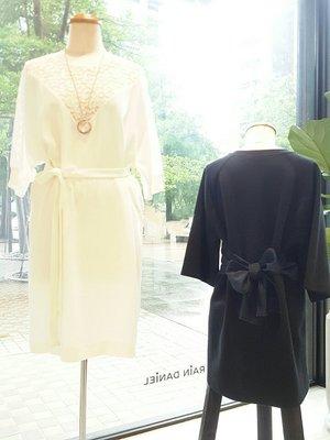 [ RainDaniel ] STELLA McCARTNEY 英國時尚品牌 純色白 落肩/結飾綁帶 蕾絲雕花雪紡洋裝
