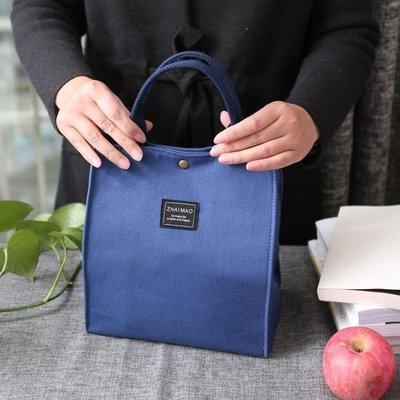 ZIHOPE 帆布便當包加厚手提拎包飯盒袋日式方形帶飯包ZI812